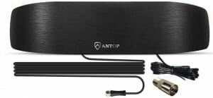 ANTOP Amplified Indoor AM FM Antenna, 50 Mile Radio Antenna with Built-in Digital Amplifier Booster for Amplifier Stereo Radio Audio Signals RF Broadcast Receiver fit in Home/Cafe Shop/Office Review