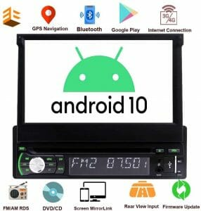Single Din Car Stereo Android 10 GPS Navigation 1 Din Radio Bluetooth 7 Inch Flip Out Touch Screen DVD Player Universal Headunit 1GB+32GB with WiFi USBreviews and user guide